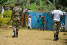File photo of government soldiers are seen on patrol in Bafut, in the restive northwest English-speaking region of Cameroon, November 15, 2017