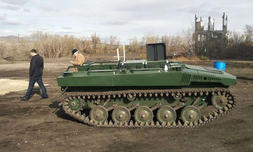 Soldiers test a new Marker robot, in Magnitogorsk, Russia, October 2019.