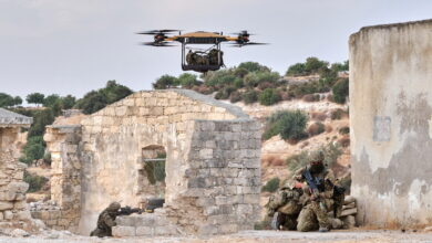 Royal Marines successfully receiving bergan drops from Malloy Aeronautics heavy lift drone