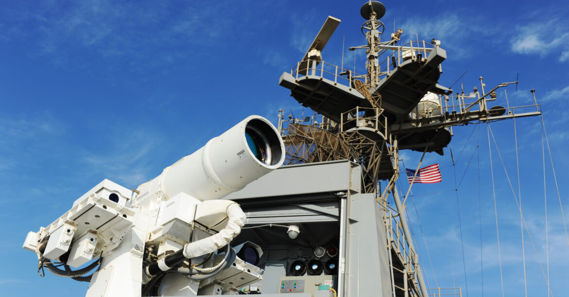 The Afloat Forward Staging Base USS Ponce conducts an operational demonstration of the Office of Naval Research -sponsored Laser Weapon System while deployed to the Arabian Gulf