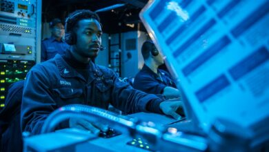 Sonar Technician (Surface) 2nd Class Dontreal Brown, from Leesburg, Fla., stands watch as an acoustic sensor operator during an anti-submarine warfare exercise in the sonar control room aboard the Arleigh Burke-class guided-missile destroyer USS Milius (DDG 69) during Annual Exercise (ANNUALEX) 19
