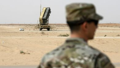 A member of the US Air Force near a Patriot missile battery at Prince Sultan air base in Al-Kharj, Saudi Arabia, 2020