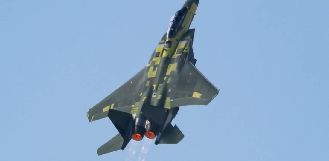 """F-15EX fighter jet performs a """"Viking"""" take-off"""