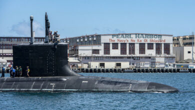 The Virginia-class fast-attack submarine USS Missouri (SSN 780) departs Pearl Harbor Naval Shipyard after completing a scheduled extended dry-docking selected restricted availability (EDSRA).