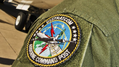 A U.S. Strategic Command airborn command post patch adorns the shouder of Maj. Gen. Richard Evans III, U.S. STRATCOM acting deputy commander, at Minot Air Force Base, N.D., Sept 19, 2016