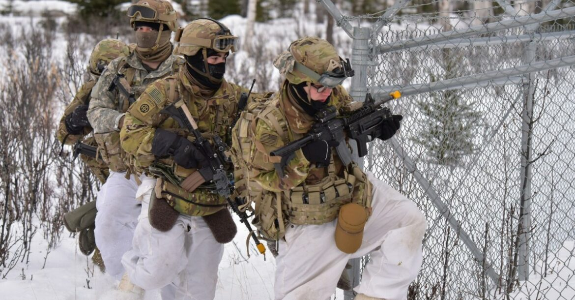 A group of Arctic soldiers participating in Arctic Warrior exercise in Alaska.