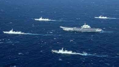 Chinese ships in the South China Sea.