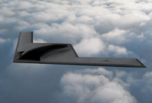 Artist impression of the B-21 Raider, an American heavy bomber under development for the United States Air Force by Northrop Grumman