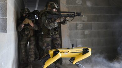 The Boston Dynamics robot, nicknamed Spot, seen alongside a French soldier