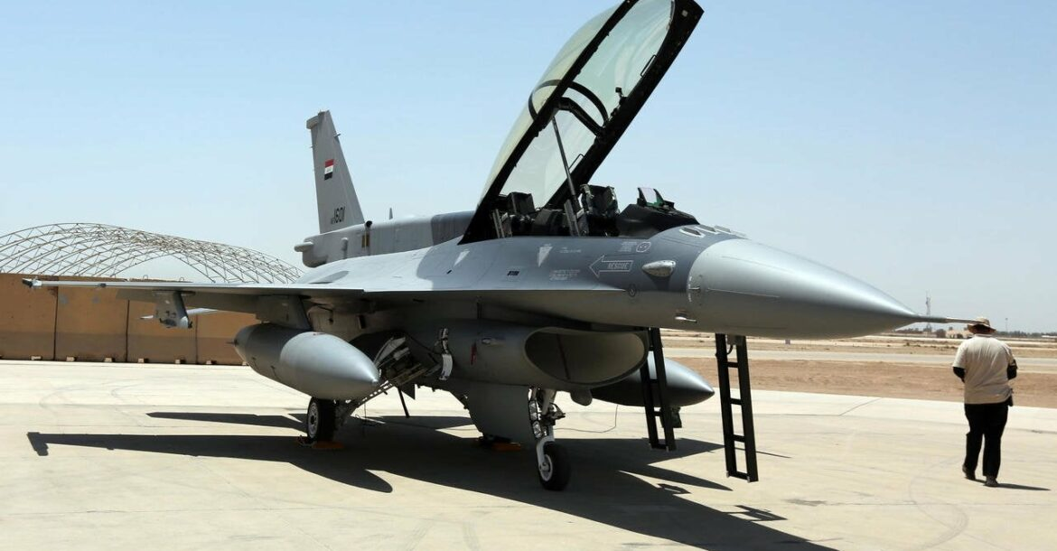 An F-16 fighter jet from the US on the tarmac at Iraq's Balad air base