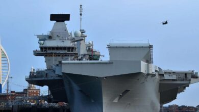 The British aircraft carrier HMS Queen Elizabeth at anchor