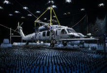 A 413th Flight Test Squadron HH-60W Pave Hawk hangs in the anechoic chamber at the Joint Preflight Integration of Munitions and Electronic Systems hangar, Jan. 6, 2020, at Eglin Air Force Base, Fla