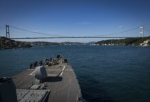 he Arleigh Burke-class guided-missile destroyer USS Carney (DDG 64) transits the Bosphorus Strait