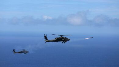 "Two US Army AH-64D Apache attack helicopters launch eight ""fire and forget"" AGM-114L Hellfire Air to Surface Missiles during a training exercise off the coast of Oahu as part of the Rim of the Pacific in 2016."