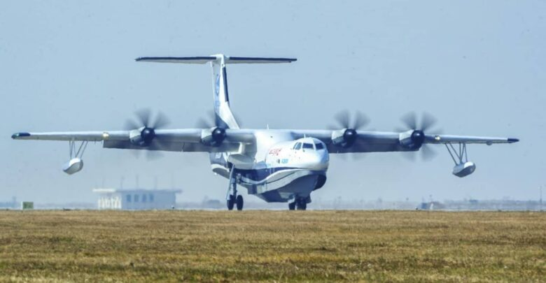 China's home-grown AG600, the world's largest amphibious aircraft in production, also known as 'Kunlong', is seen at Jinwan Airport in Zhuhai in China's southern Guangdong province on December 24, 2017