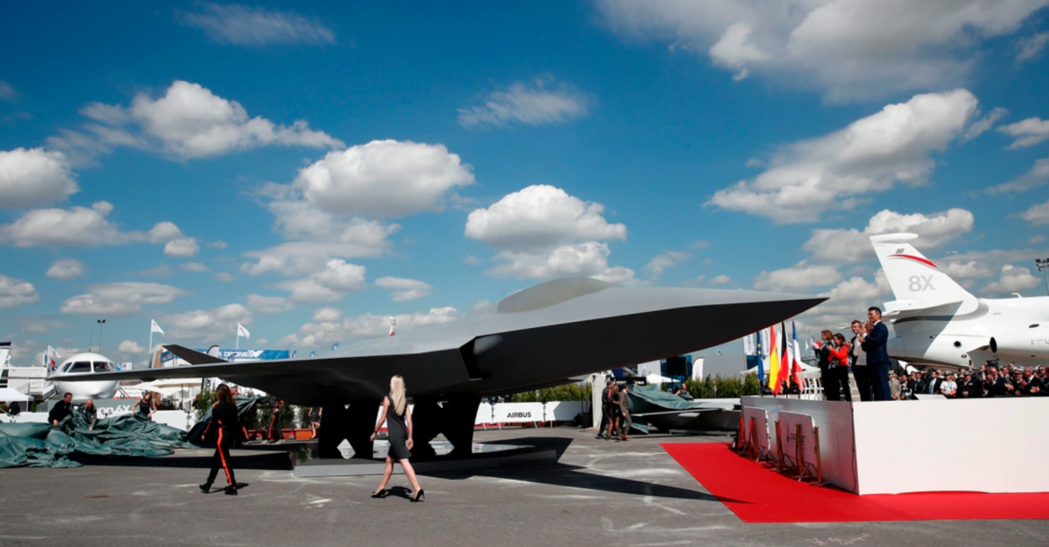 A model of the French-German-Spanish Future Combat Air System aircraft sits on the tarmac during the 53rd Paris Air Show on June 17, 2019