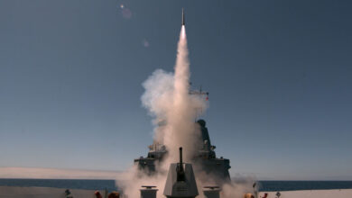 HMAS Sydney fires an Evolved Sea Sparrow Missile for the first time during Combat System Sea Qualification Trials in the Southern Californian Exercise Area off the coast of the United States.