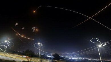 Israel's Iron Dome aerial defense system intercepts rockets launched from the Gaza Strip, controlled by the Palestinian Islamist movement Hamas, above the southern Israeli city of Ashkelon, on May 10, 2021