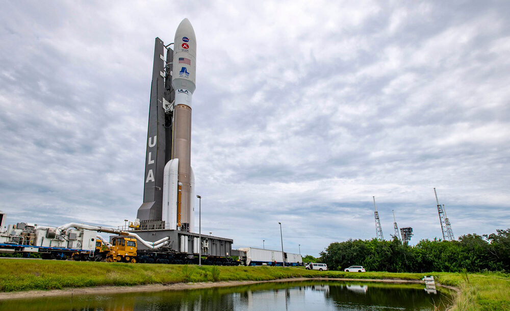 A United Launch Alliance (ULA) Atlas V rocket with NASA's Mars 2020 mission with the Perseverance rover rolls from the Vertical Integration Facility (VIF) to the launch pad at Space Launch Complex-41 at Cape Canaveral Air Force Station, Florida.