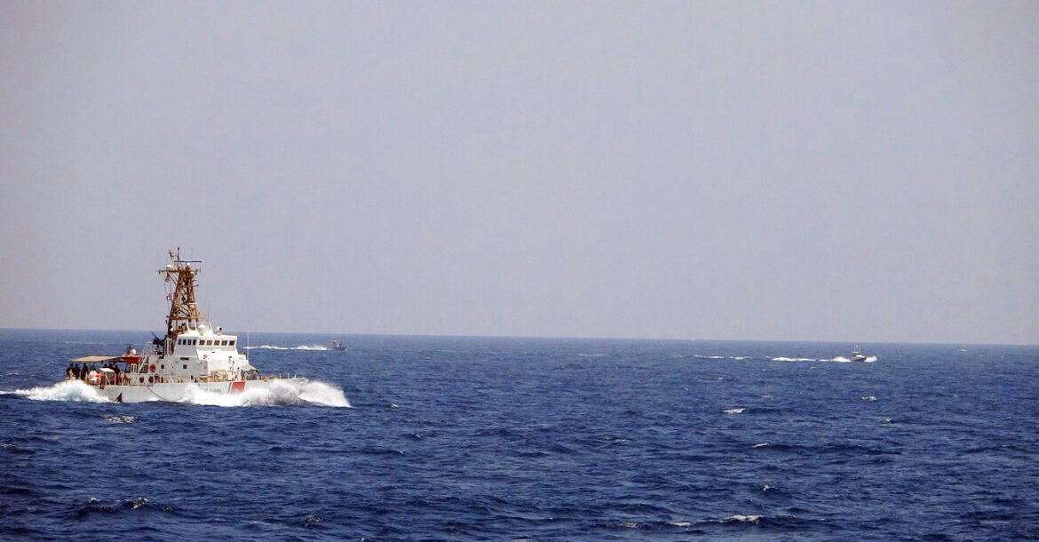 Two Iranian Islamic Revolutionary Guard Corps Navy fast in-shore attack craft, a type of speedboat armed with machine guns, conducted unsafe and unprofessional maneuvers while operating in close proximity to USCGC Maui (WPB 1304) as it transits the Strait of Hormuz