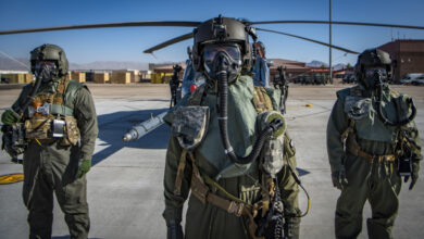 Airmen assigned to the 88th Test and Evaluation Squadron, pose for a photo in full Chemical, Biological, Radiological, and Nuclear flight gear