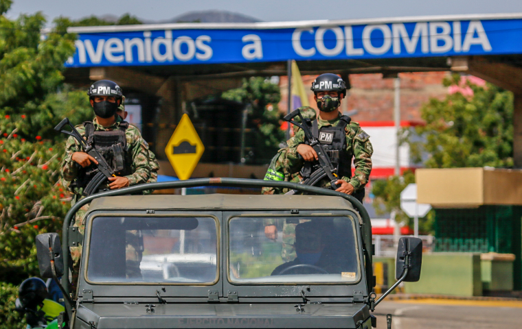 Colombian security forces are seen on the border between Colombia and Venezuela on October 17, 2020.