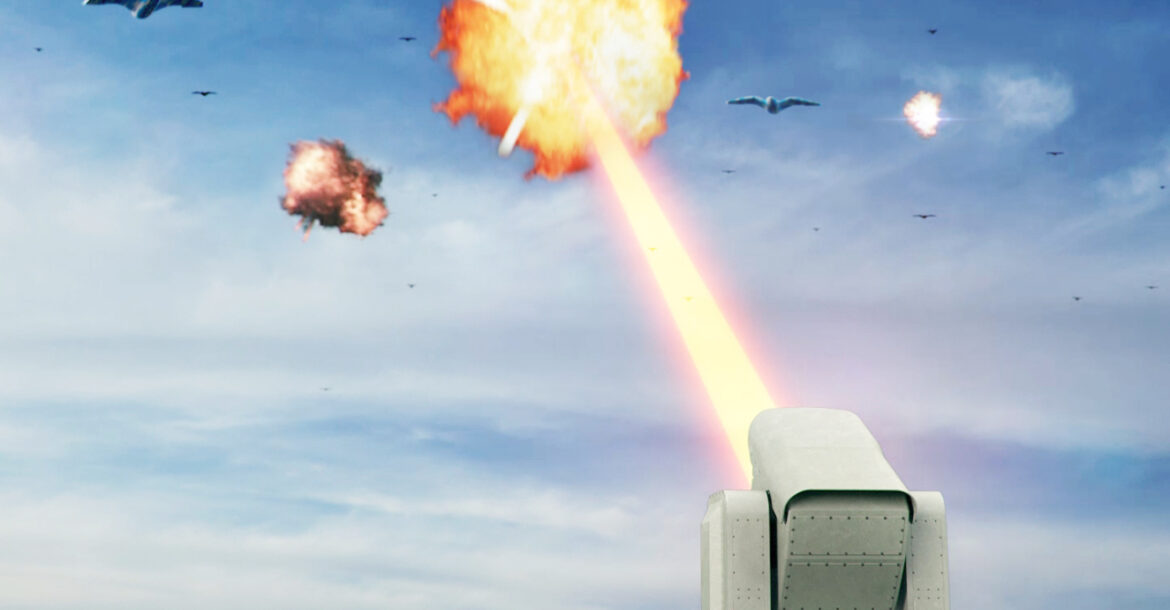 A conceptual image of a laser weapon shooting down drones