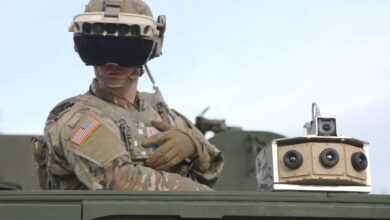 A soldier dons the Integrated Visual Augmentation System Capability Set 3 hardware while mounted on a Stryker at Joint Base Lewis-McCord, Washington, in January 2021