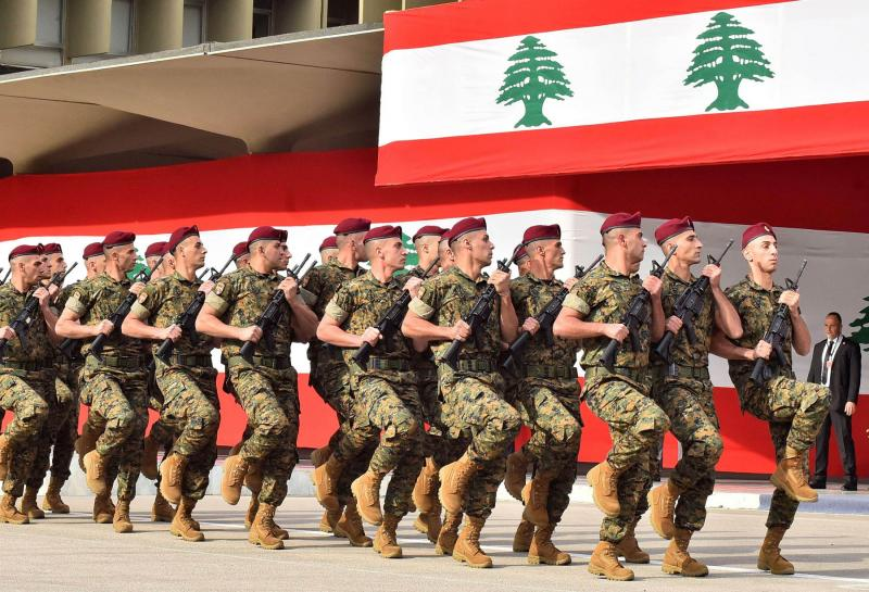 Lebanese army soldiers marching during a military parade