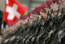 Swiss soldiers in ceremonial guard