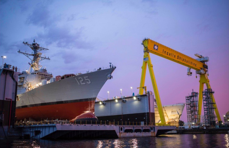 The future guided-missile destroyer Jack H. Lucas (DDG 125) is launched, June 4, 2021, at Huntington Ingalls Industries, Ingalls Shipbuilding division in Pascagoula, Mississippi