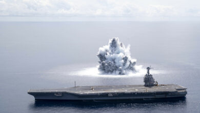 The aircraft carrier USS Gerald R. Ford (CVN 78) completes the first scheduled explosive event of Full Ship Shock Trials while underway in the Atlantic Ocean, June 18, 2021