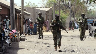 Nigerian troops patrolling the streets in the northeast town of Baga, Borno State, Nigeria