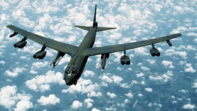 A B-52H strategic bomber equipped with the AGM-86 variant Air-Launched Cruise Missile