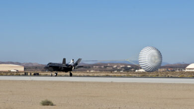 The F-35A, AF-4, can be seen outfitted with a spin recovery chute (SRC) during High Angle of Attack testing accomplished by the F-35 Integrated Test Force team at Edwards Air Force Base, California