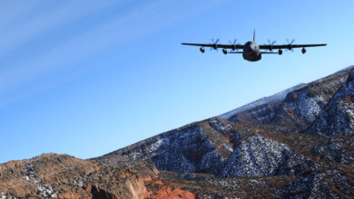 A 52nd Special Operations Squadron MC-130J Combat Shadow II aircraft flies over the skies of New Mexico.