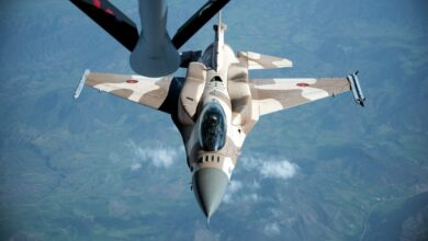 A Royal Moroccan air force F-16 prepares to receive fuel from a KC-135 Stratotanker from the 191st Air Refueling Squadron, during Exercise African Lion April 20, 2018