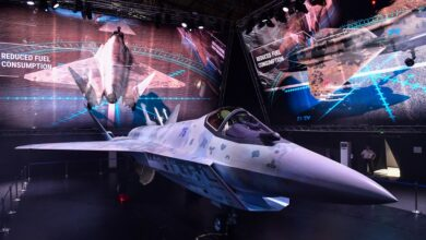 A prototype of Russia's new Sukhoi Checkmate Fighter is displayed at the MAKS 2021 International Aviation and Space Salon, in Zhukovsky, outside Moscow, Russia