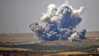 An air strike, reportedly by Syrian regime forces, hits rebel-held areas of the city of Daraa in southern Syrian