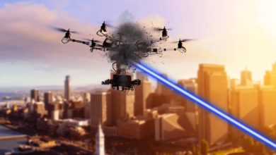 The High-Energy Laser for Multiple Application – Power (HELMA-P) drone neutralization illustration