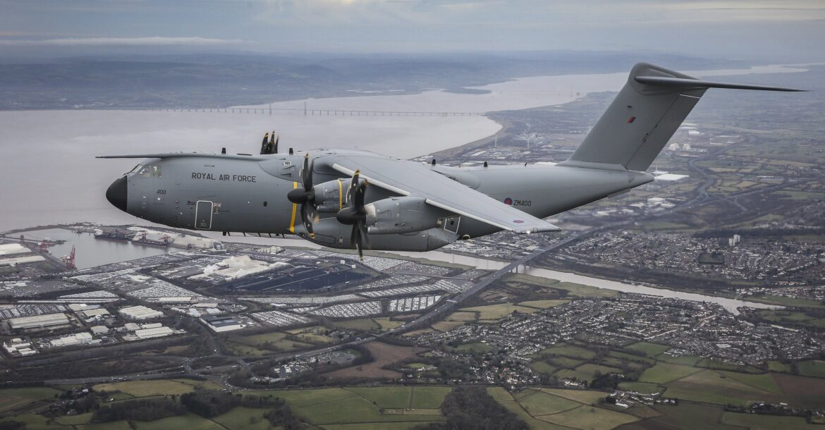 The RAF Atlas A400M aircraft 'City of Bristol' enroute to the city it's named after