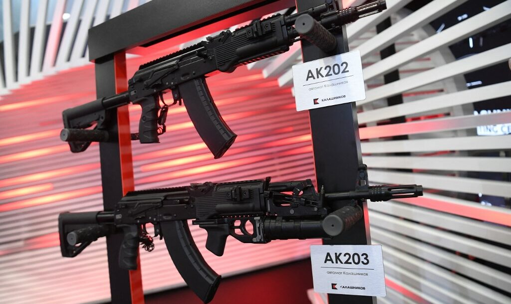 The AK-202 and AK-203 rifles are displayed during the St. Petersburg International Economic Forum in St. Petersburg, Russia, 2019