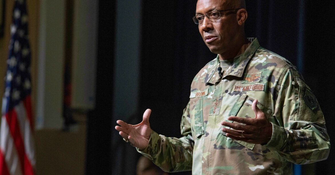 Air Force Chief of Staff Gen. Charles Q. Brown Jr. speaks with Air University senior military leaders and faculty, Aug. 26, 2020, Maxwell Air Force Base, Alabama, 2020.