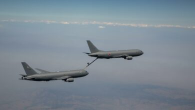 The Japan-bound tanker recently refueled another KC-46A in the skies over Washington state.