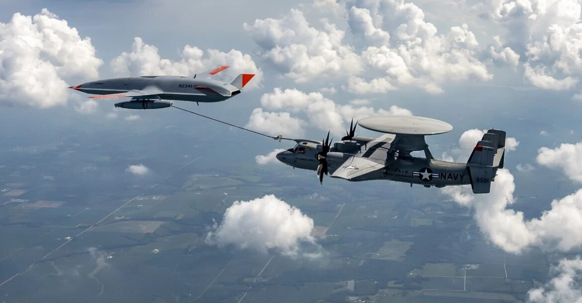 Boeing's MQ-25 T1 refuels a US Navy E-2D command and control aircraft.