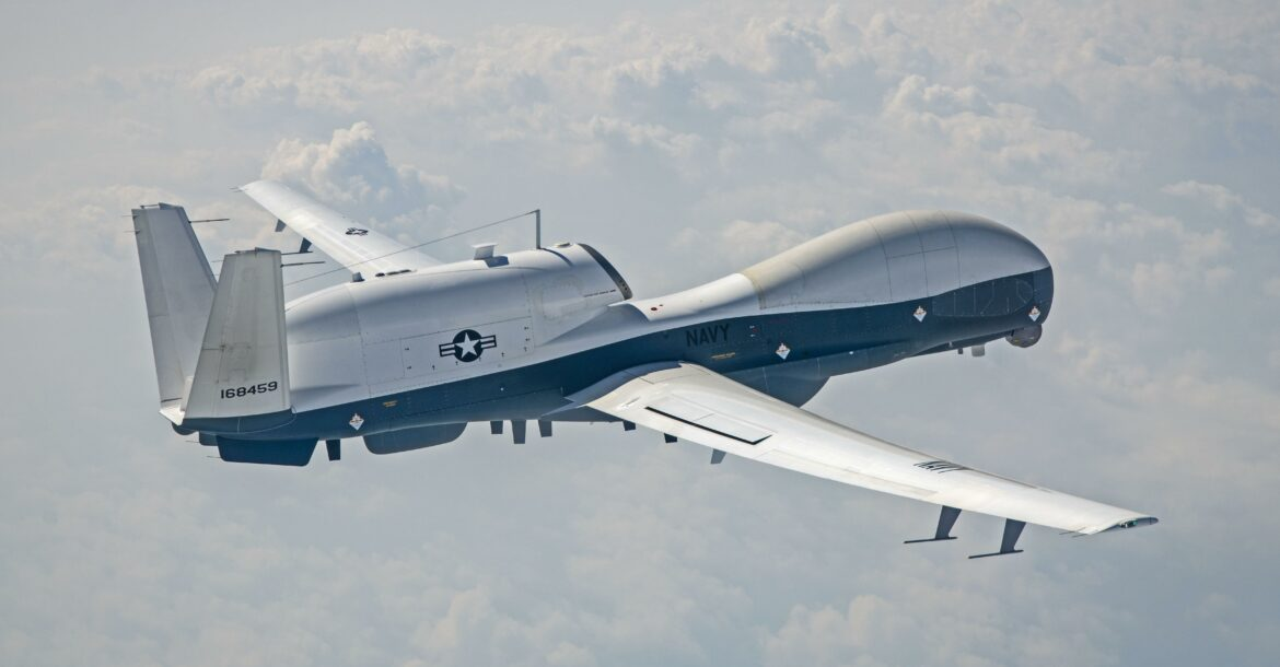 An MQ-4C Triton flew its first test flight in its new hardware and software configuration July 29 at NAS Patuxent River, Md.