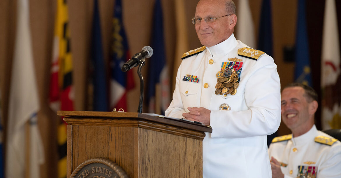 Navy Adm. Michael Gilday delivers his first remarks as the 32nd chief of naval operations during a change-of-office ceremony at the Washington Navy Yard, Aug. 22, 2019