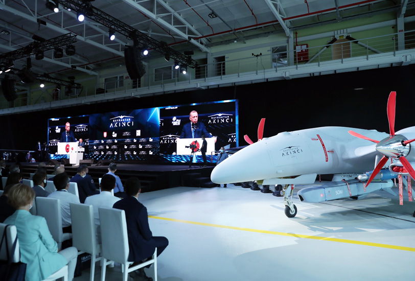 President Erdogan during the unveiling of the Akinci drone