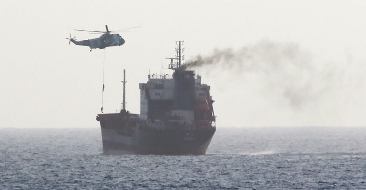 Iranian forces boarding a tanker in international waters in the Gulf of Oman