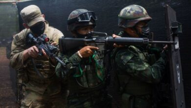 A US and Royal Thai Army soldiers practice clearing a room as part of Exercise Cobra Gold 21 in Thailand, Augustus 2021.